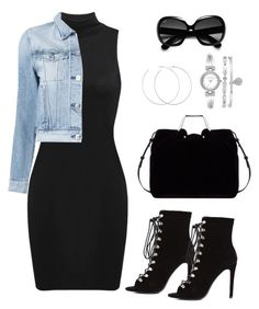 A fashion look from September 2016 featuring sleeveless short dress, blue denim jacket and sexy black boots. Browse and shop related looks. Cute Swag Outfits, Komplette Outfits, Teen Fashion Outfits, Simple Outfits, Classy Outfits, Stylish Outfits, Fall Outfits, Look Legging, Modelos Fashion