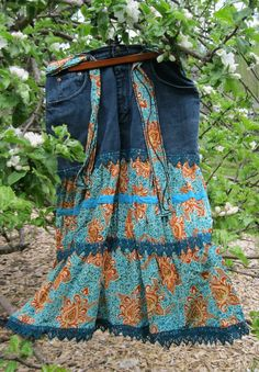 "Upcycled denim ladies fancy teal orange tiered skirt, Plus Size 18 34 "" waist, recyled blue denim outfit of choice.upcycled clothing green. $48.95, via Etsy."