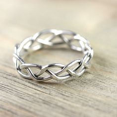 Silver Wire Ring in Celtic Braid  Entwined for by NanfanJewellery, £22.00