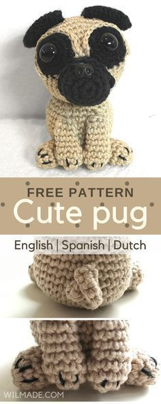 Cute pug! Free crochet pattern for this dog/puppy can be found on wilmade.com
