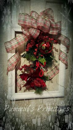 non-traditional Christmas wreath made with repurposed picture frame https://m.facebook.com/Pummills-Primitives-345192245638934/