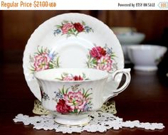 Royal Standard Carnations, Footed Teacup, Tea Cup and Saucer