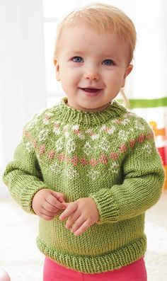 Adorable fair Isle sweater to knit for the little sprout in your family. Kit includes Caron Simply Soft yarn and pattern.