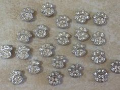 10pc 8mm Cat Dog Pet Paw Crystal Rhinestones & Beads Slider Charms LSSP47