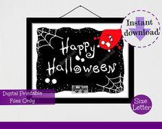 Monster Happy Halloween Instant Digital Download Sign