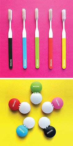 Pantone toothbrushes and contact lens cases from Kikkerland.