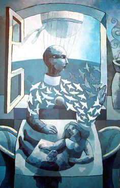 """El anfitrión  Ilustración: """"Es algo que no puedo evitar"""", obra de Alfredo Rosales"""