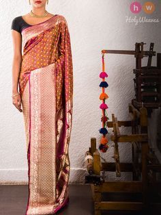 Multi-color Handwoven Katan Silk Jamawar Brocade Saree - HolyWeaves - 2