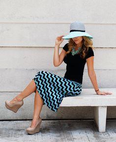 Blue & Black Chevron Midi : Cute Aprons - Cute Dresses - Cute Maxi Skirts - Cute Gifts - Daisy Shoppe