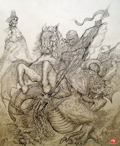 St. George and the Dragon v3 by PaperCutIllustration.deviantart.com on @DeviantArt