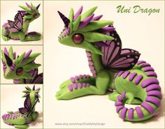 Polymer Clay Unicorn Dragon Green and Lilac by ShaidySkyDesign on deviantART