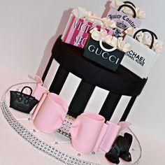 Instagram media _bakedwithlove_ - Shopaholic cake 🎀👠👛💄 #shopaholic #cake #shopaholiccake #fondantbow #edibleimage #shoppingbags #louboutins #celine #miami #miamicakes #miamibaker #bakedwithlove