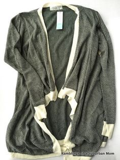 Even though it's black & white, and I'm trying to get color, I like the unique edging on this open cardi. RD Style Vivianna Open Draped Knit Cardi
