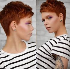 Girls with short hair and handsome hair style, air design, true temperament – Page 13 – Hairstyle Red Hair Pixie Cut, Red Pixie Haircut, Pixie Bob Hairstyles, Short Pixie Haircuts, Cute Hairstyles For Short Hair, Pixie Cuts, Short Copper Hair, Funky Short Hair, Super Short Hair