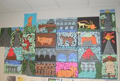 "Roman mosaics made from construction paper scraps! A great ""early finisher"" activity."
