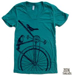 Items similar to Womens SPARROW BIKE T Shirt -hand screen printed (+ Colors Available) custom on Etsy Bike Shirts, Rock T Shirts, Bike Style, Sporty Style, Urban Outfits, American Apparel, Tshirt Colors, Shirt Designs, T Shirts For Women