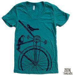 Womens SPARROW BIKE T Shirt S M L XL (14 Colors Available). $18.00, via Etsy.