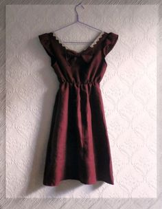 Deep red cute dress with lace details and by MyNameIsSueclothes, €45.00