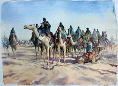 The Bedu watercolour on handmade paper by Trevor Waugh The New Orientalist Collection
