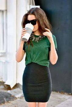 Green and black. Love the way the shirt is tucked & the necklace!