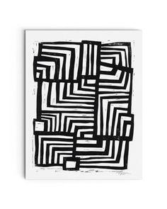 Modern Art - Moving Lines Linocut Block Print - Contemporary Art Canvas Artwork, Canvas Art Prints, Framed Prints, Big Canvas, Minimal Art, Black Wall Art, Geometric Art, Geometric Designs, Linocut Prints