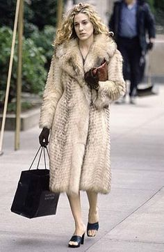 Carrie was loyal to her fur from day one. | Season One, Sex and the City | While I like the look of fur, I DO NOT condone killing animals for the purpose of fashion!  For this reason, all 'fur' I ever do & ever will buy & wear is strictly faux!