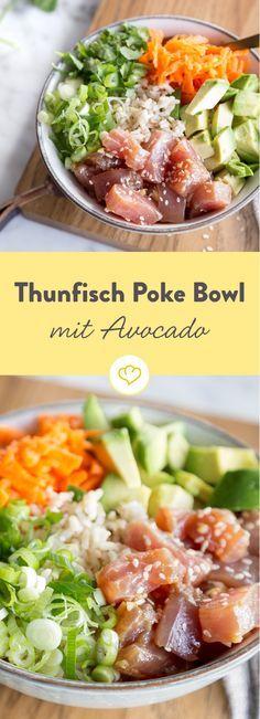 Fünf Hauptzutaten machen die asiatischen Poke Bowl zur echten Wandlungskünstleirn. Wir setzen auf leckeren Thunfisch, knackiges Gemüse und cremige Avocado.