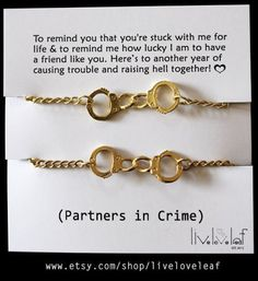 Matte gold Handcuffs bracelet one for you one for your Partner in crime, Best Friend, BFF jewelry Graduation gift ideas Bffs Matching cuffs?