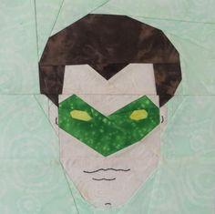 Green Lantern, free paper pieced pattern by Lynne S. on fandominstitches.com