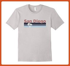 Mens San Diego Retro Palm Trees - California T-Shirt Large Silver - Retro shirts (*Partner-Link)