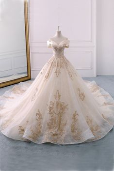 Gorgeous Off the Shoulder Ball Gown Wedding Dress, Long Appliques Bridal Dress N. Gorgeous Off the Shoulder Ball Gown Wedding Dress, Long Appliques Bridal Dress - Sweetheart Wedding Dress, Long Wedding Dresses, Bridal Dresses, Dresses Dresses, Dress Wedding, Winter Wedding Dress Ballgown, Cathedral Wedding Dress, Dresses Online, Wedding Ball Gowns