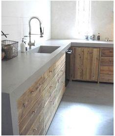 Modern Farmhouse Kitchens, Rustic Kitchen, Home Kitchens, Kitchen Decor, Concrete Kitchen, Concrete Countertops, Kitchen Countertops, Kitchen Cabinets, Industrial Kitchen Design