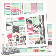 Summer planner stickersPink Flamingo planner by MeeDigiScrap