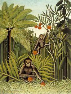 le singes dans le `jungle` - (Henri Rousseau)