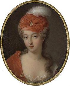 Francoise-Marie de Bourbon; by Marie Victoire Jaquotot (after a miniature), c.1710. She was a legitimised daughter of Louis XIV of France and his maîtresse-en-titre, Madame de Montespan.