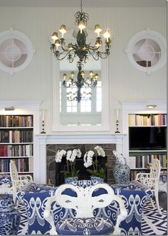 Love the windows, the bookshelves, the fireplace, the mirror, the height, the beadboard, the blue & white... yep, love it!