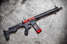 Follow @az_photo_man @hexmag ・・・ Just switching things up a little. @slide_fire stock on my @kaiserusllc X7 lower and @ke_arms upper. I'm sort of addicted to red and black. http://gunfeed.net #gun...