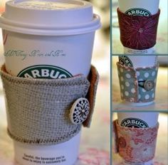 Shield your hand from your hot coffee cup in style. Instead of using the disposable cozies, make this reusable Coffee Cozy With Button. It's a cute sewing project that you'll use everyday!