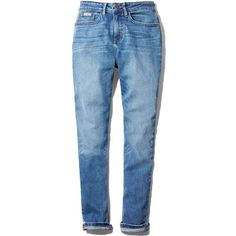 Calvin Klein Jeans Mom Jeans in Deep Blue (10345 DZD) ❤ liked on Polyvore featuring jeans, denim straight leg jeans, vintage jeans, calvin klein, deep blue jeans and dark blue denim jeans