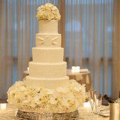 Monogrammed White Wedding Cake