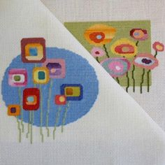 Garden inspired cross stitch pattern from traditional to modern: Mid Century Flowers