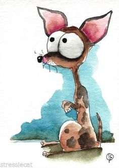 ACEO-Original-watercolor-whimsical-animal-painting-dog-sweetie-Chihuahua-1