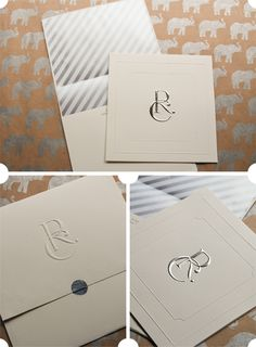 ivory and silver foil wedding invitations