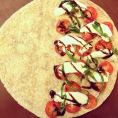 Caprese Quesadilla: tomato, basil, feta, and balsamic vinaigrette - heat until cheese melts