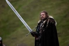 Ned Stark and his Valyrian sword; After his death his giant sword was later re-forged into two swords. Widow's wail and Oathkeeper Ned Stark, Casa Stark, Eddard Stark, House Stark, Game Of Thrones Weapons, Game Of Thrones Sword, Got Game Of Thrones, Writing Fantasy, Fantasy Authors