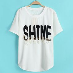Letter Print Beaded Short Sleeve Scoop Collar Casual Style Women's T-Shirt
