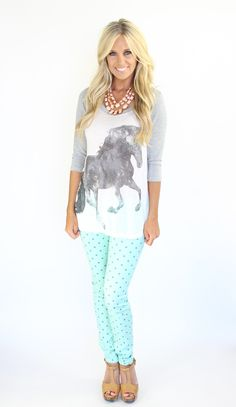 Lime Lush Boutique - Mint and Grey Polka Dot Skinny Jeans, $46.99 (http://www.limelush.com/mint-and-grey-polka-dot-skinny-jeans/)