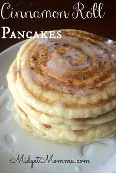Cinnamon Roll Pancakes with cream cheese glaze