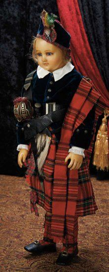 The Lifelong Collection of Berta Leon Hackney: 157 Large English Wax Child Doll in Elaborate Scottish Costume, with Original S. Victorian Dolls, Antique Dolls, Vintage Dolls, Child Doll, Baby Dolls, Doll Costume, Costumes, Scottish Costume, Scottish Clothing