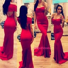 New Arrival Sexy Sweetheart Off The Shoulder Backless Red Satin Mermaid Prom Dresses Long Evening Gown With Train